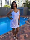 WHITE Pure Rayon Knit Jersey Slip SUMMER DRESS SIZE 1-2-3 fits 12-16-20