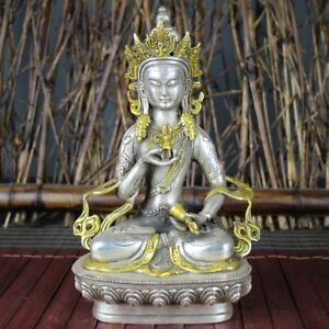 Collect Old Tibet Tantra Buddhism Temple Silver Gilded Vajrasattva Buddha Statue
