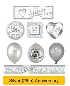 Bundle 10 x 25th Silver Wedding Anniversary Foil Wall//Table Party Decorations