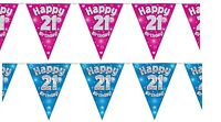 21st Birthday Bunting Celebration Party Banners Pennant Flags