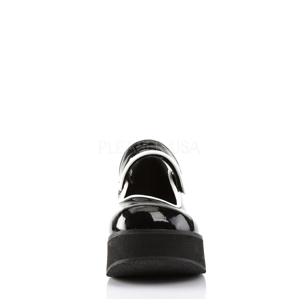 Demonia Sprite 01 Black White Strap Goth Goth Goth Punk Rockabilly Cyber Platform shoes 511650