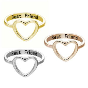 f0d4207aa0e79 Details about Women Love Heart Best Friend Ring Promise Jewelry BFF  Friendship Band Ring Gift