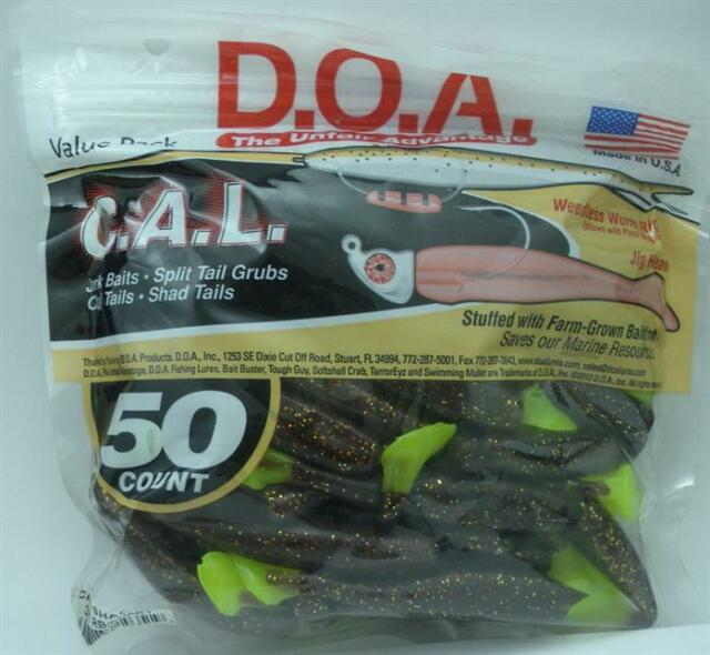 "DOA 81-351 CALJ4-351 CAL Jerk Lure 3/"" Root Beer Chartreuse Tail 12CT 21012"