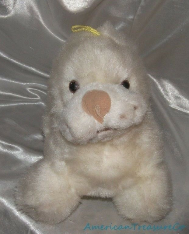 RARE Vintage 60s Animal Toys Plus Soft Plush 18  Fluffy Weiß Baby Seal Haiti