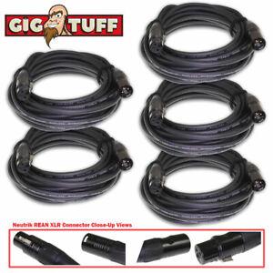 5-pack Gig Tuff 20 Ft (environ 6.10 M) Tour Pro Microphone Câble Neutrik Rean Xlr Awg20 Ofc 6.5 Mm-afficher Le Titre D'origine