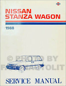 1988 Nissan Stanza Wagon Original Repair Shop Manual 88 | eBay