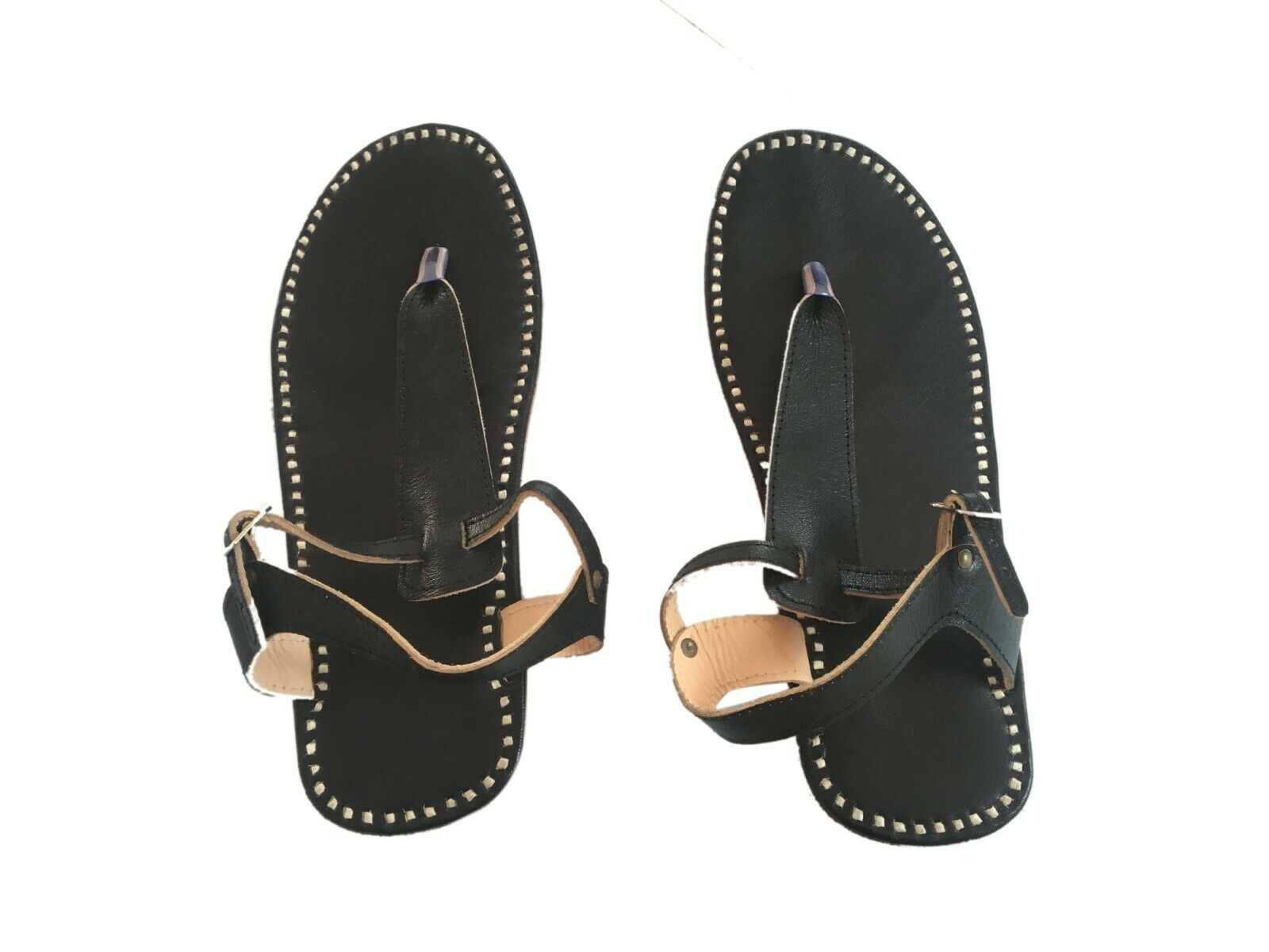 Black leather slippers mens sandals Buckle flip flops casual slippers male flats