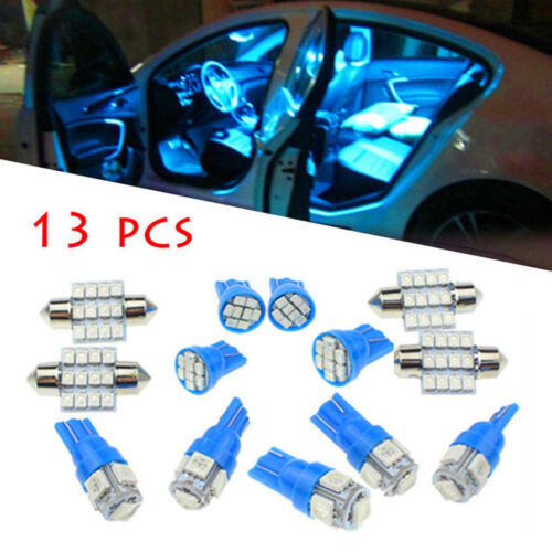 13Pcs Blue LED Lights Interior Package Kit For Dome License Plate Lamp Bulbs