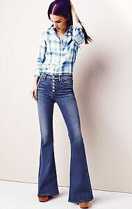 Jeans 25 Boho évasé à à 26 taille taille haute Bleu Hudson et Jodi Nwt la Owqxtapw