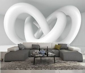 papier peint intisse trompe l 39 oeil photo murale relief 3d blanc sculture ebay. Black Bedroom Furniture Sets. Home Design Ideas