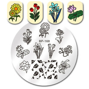 born pretty nail art stamping plates rose sunflower fragrant image