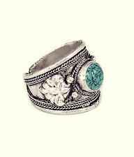 Tibetan Turquoise Trinket Ring-Vintage Silver Jewellery-Amulet Navajo Bohemian