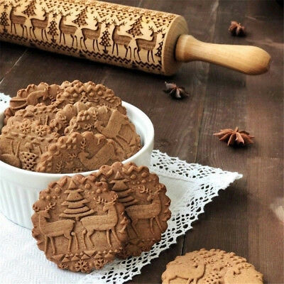 3D Xmas Christmas Embossing Rolling Pin Biscuits Cookies Rolling Stick USA m