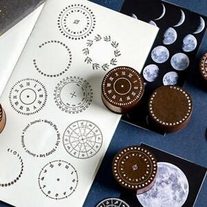 Wooden-Rubber-Stamp-Retro-Clock-Pattern-Round-DIY-Journal-Diary-Scrapbooking
