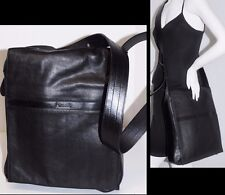 FOSSIL Made in India Black Leather Large Messenger Cross Body Bag Purse Handbag