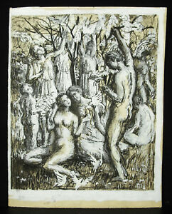 The-Jardin-of-Eden-Allegorie-of-the-Peace-Love-Drawing-Original-c1930-Artist