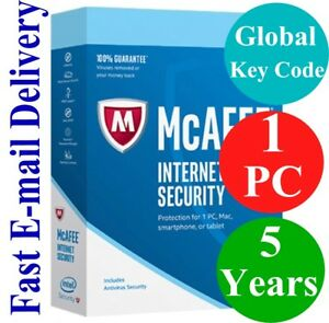 Details about McAfee Internet Security 1 PC / 5 Years (Unique Global Key  Code) 2019