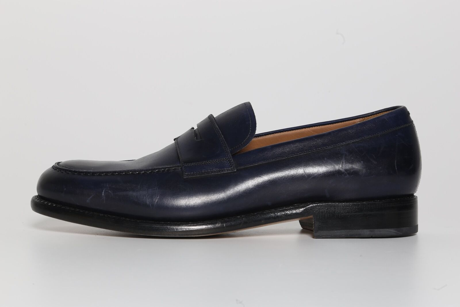 Salvatore Ferragamo Men's Navy bluee Leather Loafers 6278 Size Size Size 8.5 EEE NEW e3d7dc