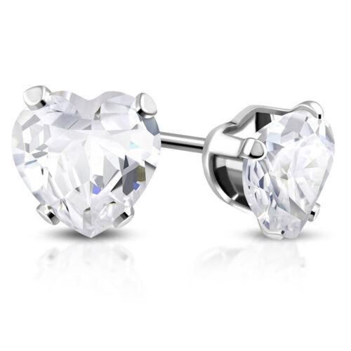 Acier Inoxydable Fourche-Set Zircone cubique Amour Coeur Stud Post Piercing Boucles d/'oreilles