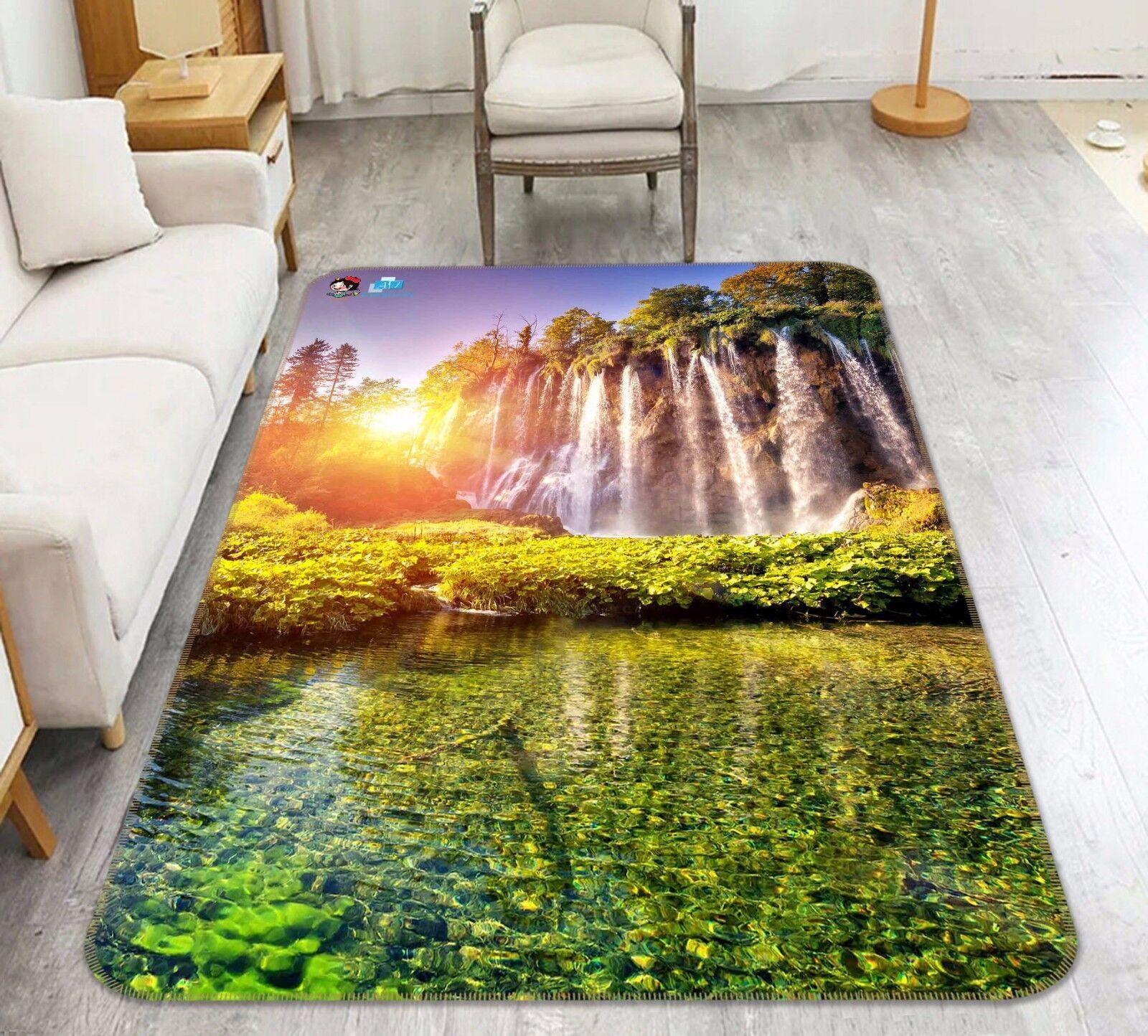 3D Waterfall Sun 404 Non Slip Rug Mat Room Mat Quality Elegant Photo Carpet US
