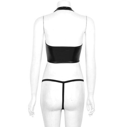 Women Faux Leather Bikini Halter Crop Top Lace Up Lingerie Set G-String Costume