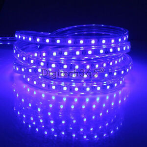 SMD3014-Luces-de-cinta-tira-LED-flexible-AC220V-60-LED-m-impermeable-Azul