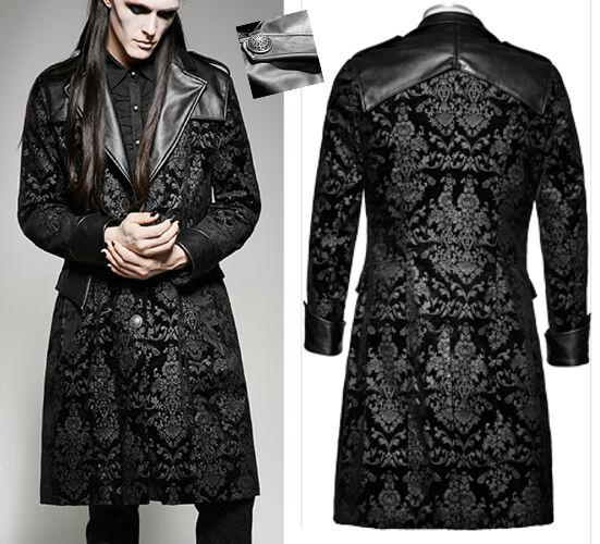 Veste manteau gothique baroque victorien dandy velours jacquard cuir Punkrave
