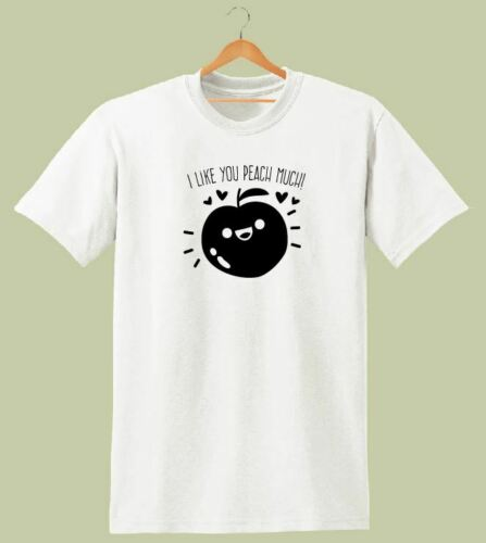 I LIKE PEACH MUCH PRINTED WOMENS T SHIRT SWAG FUNNY LADIES TEE HIPSTER DOPE
