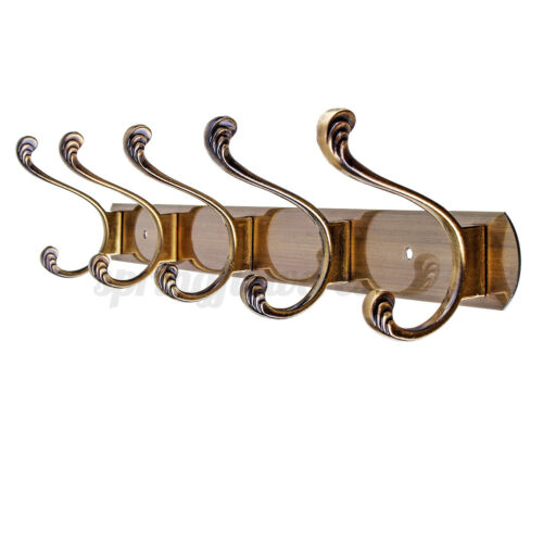 3//4//5 Hook Wall Mounted Clothes Coat Hanger Rack Hat Hanging Holder Wood Chrome