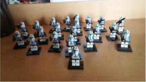 21Pcs Minifigures Star Wars Blue Clone Trooper 501st Clone Army Trooper Lego MOC