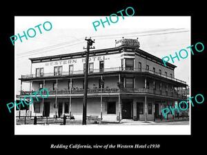 OLD-LARGE-HISTORIC-PHOTO-OF-REDDING-CALIFORNIA-VIEW-OF-THE-WESTERN-HOTEL-c1930