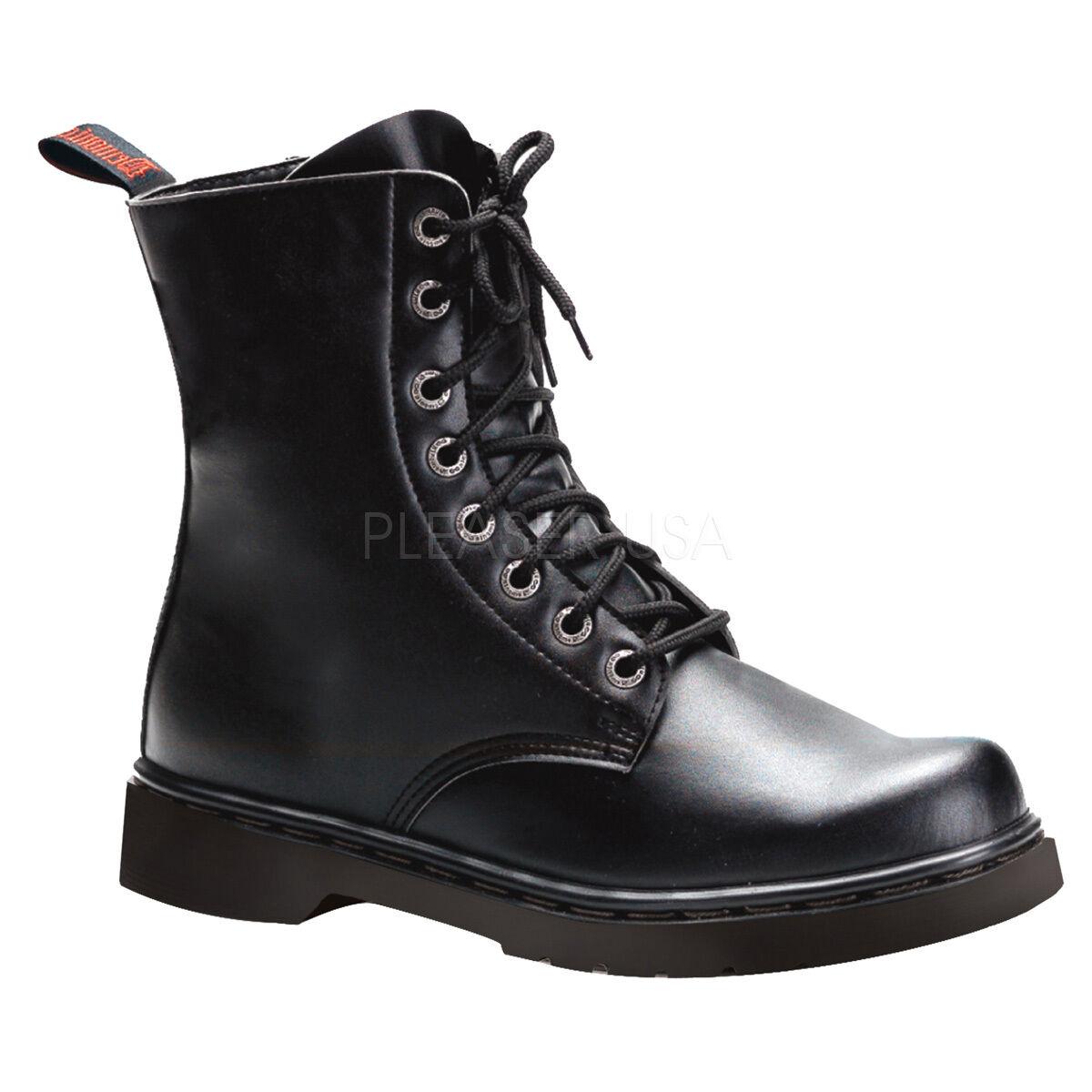 DEMONIA Women's Punk Goth Military Combat 1  Heel 8 Eyelet Ankle Boots