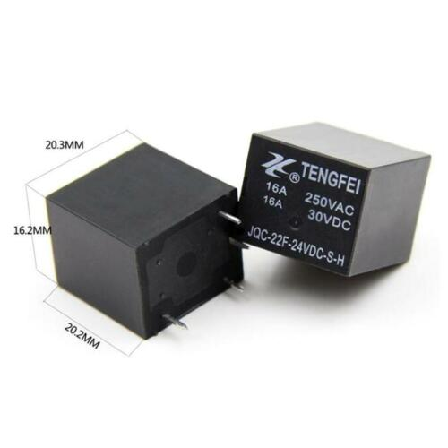 5pcs 22F Small normalerweise offenes DC-Relais 24V 4 Pins 16A JQC-22F-24VDC-S-H