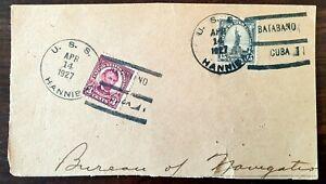 1927 US stamps canceled in BatabanoCUBA_USS Hannibal