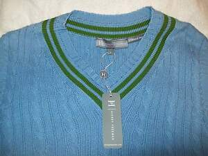 Hickey-Freeman-100-Cotton-Cableknit-V-neck-Sweater-Vest-NWT-Large-250-Slim-Fit