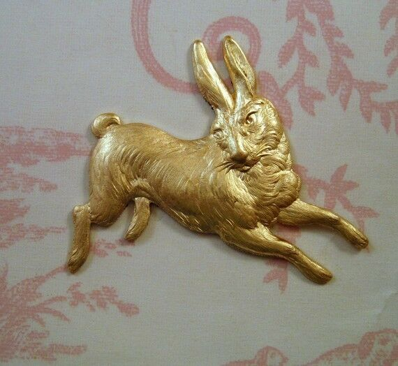 Large Raw Brass Running Rabbit Stamping (1) - FFA14065 Jewelry Finding