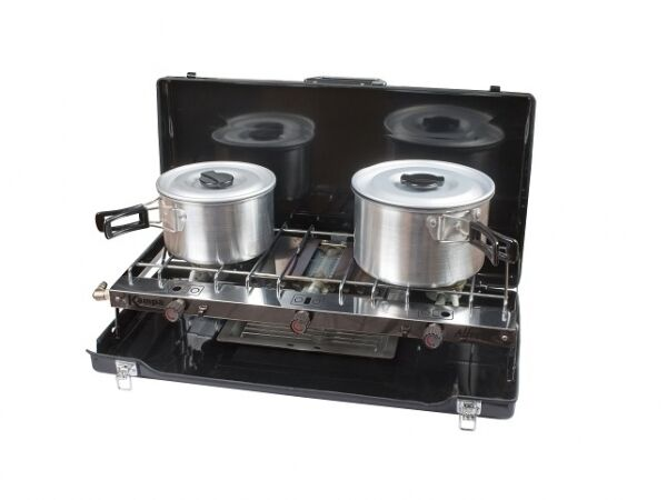 Caravan cooking Accessories - Kampa Alfresco Double Burner Stove With Grill