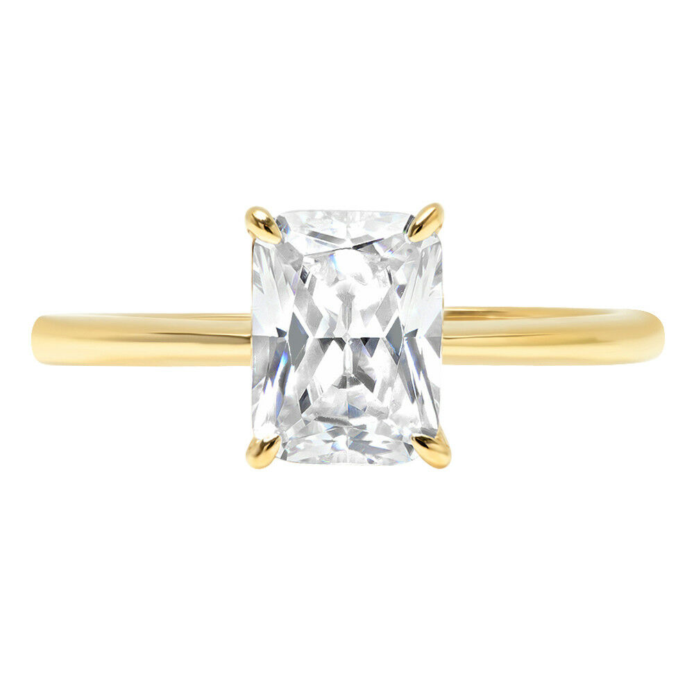2.50 ct RadiantCut Classic Solitaire Engagement Promise Ring 14k Yellow gold