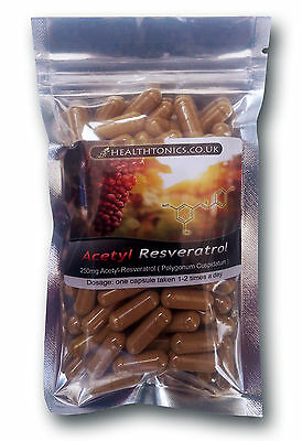 Acetyl Resveratrol 250mg ( High Absorption ), 30 - 90 Capsules, Anti-Aging