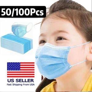 50/100 Pcs Kids Unisex Face Mask Mouth & Nose Protector Respirator Masks