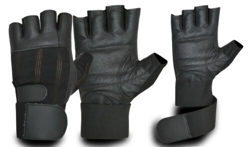 Wheelchair Weightlifting Fitness Leather Gym Gloves Long Strap Wheelchair Gloves