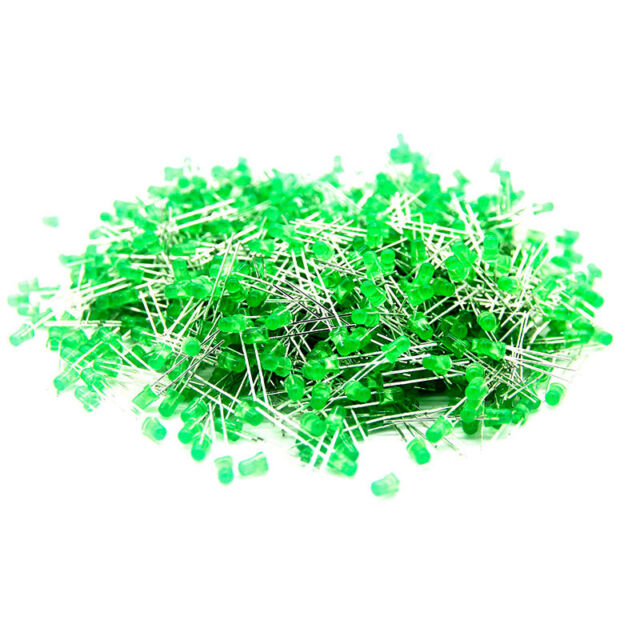 1000pcs 3mm Green Super Bright Round Top Diffused Lighting LED Diode Light Lamp