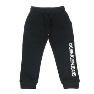 Calvin-Klein-Logo-Cotton-Terry-Sw-Pantalone-Bambino-IB0IB00025099-Black-Beauty
