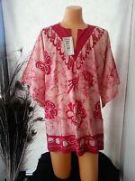 Men Women Dashiki Shirt Tunic Ruby Red Floral Pockets Batik Hippie One Size