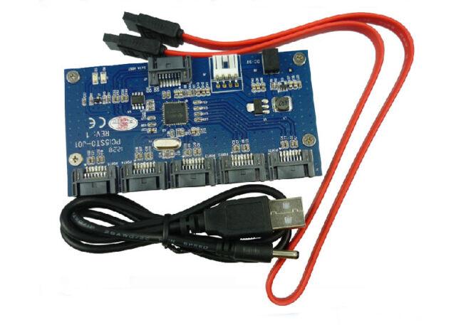 SATA 1 To 5 Port converter Adatper | SATA Multiplier Port Card SATAII Riser card
