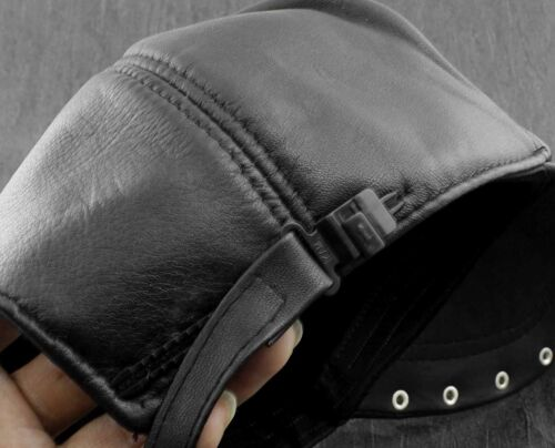 Skull Studded Mens Genuine Real Leather Biker Trucker Punk Rocker Peaked cap Hat