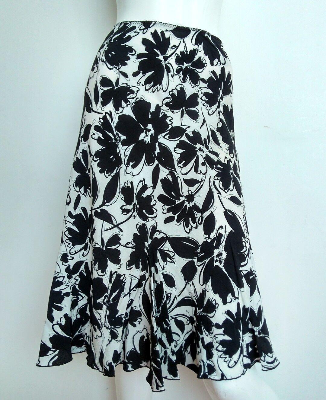 HOBBS floral slip-on skirt Größe 12 --USED ONCE-- knee length schwarz ivory