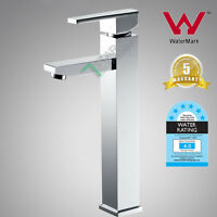 Brass Tall Square High Rise Bathroom Basin Mixer Tap Faucet Watermark Wels