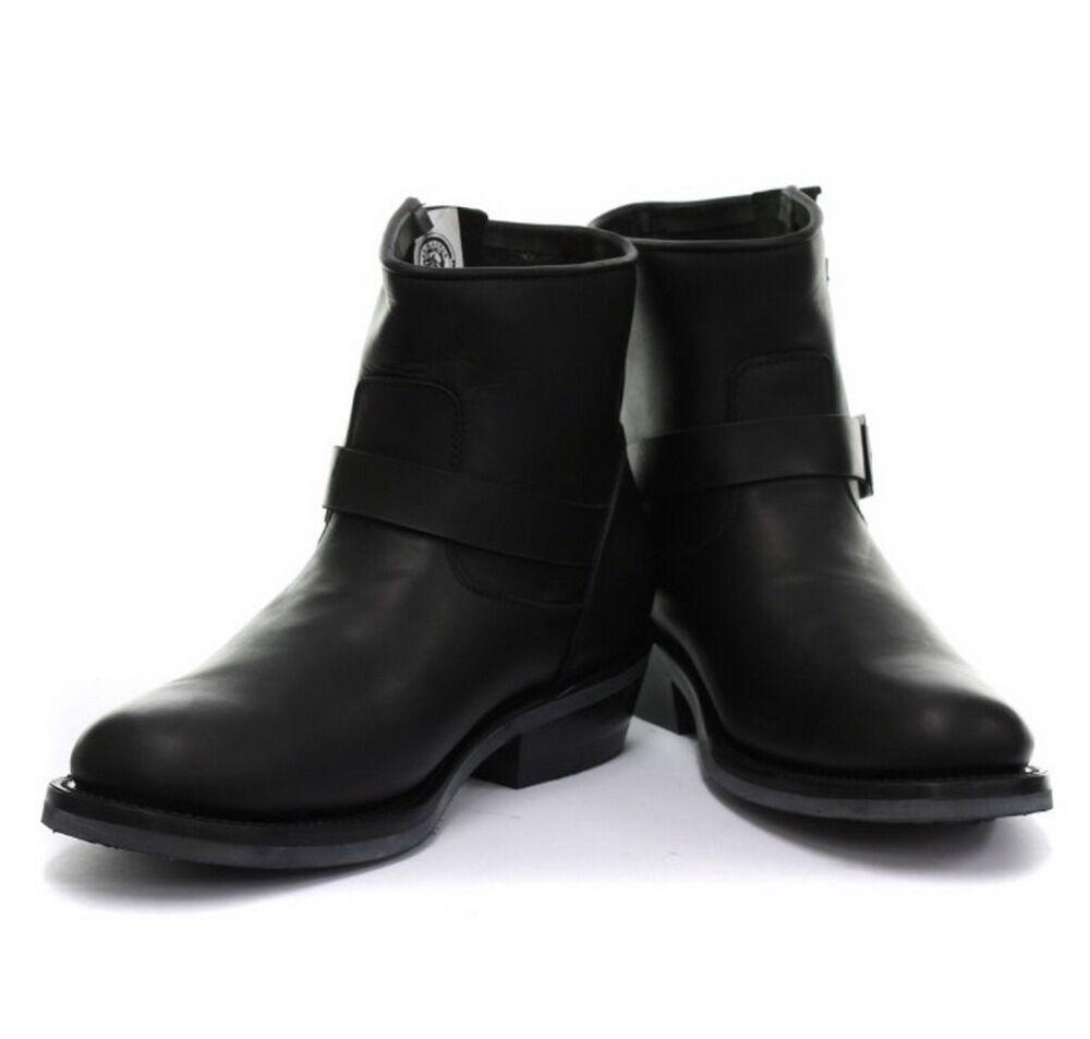Grinders Herren Schwarz BikerNicht Sicherheit 100% LederBuckle Stilvolle Stiefel