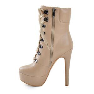 Onlymaker-Womens-Lace-up-Side-zipper-Ankle-Boots-Platform-High-Heels-Pumps-Shoes